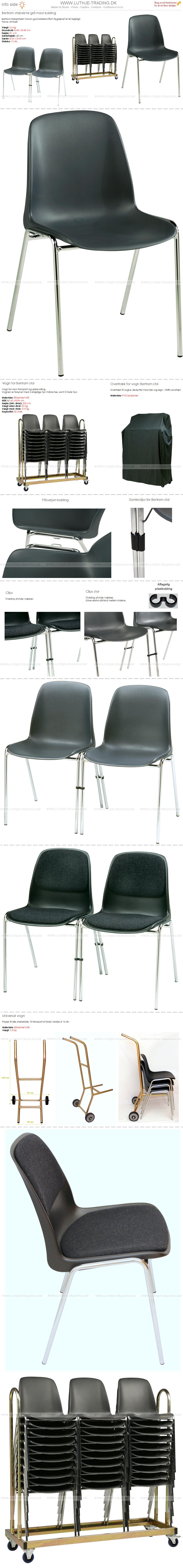 Bertram plaststole grå-kobling