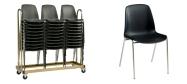 Plaststole. Bertram stole, fås med og uden polster på sæde og ryg. Den kan  fås med løs plastik eller påsvejset kobling. Der findes 2  typer transportvogne til Bertram plaststole.