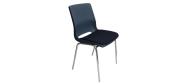Plaststole. Ana stol med krom stel, plastskal i mørk blå og sæde monteret med Fame stof nr. 60061. Fabrikken yder 5 års garanti på Ana stole.