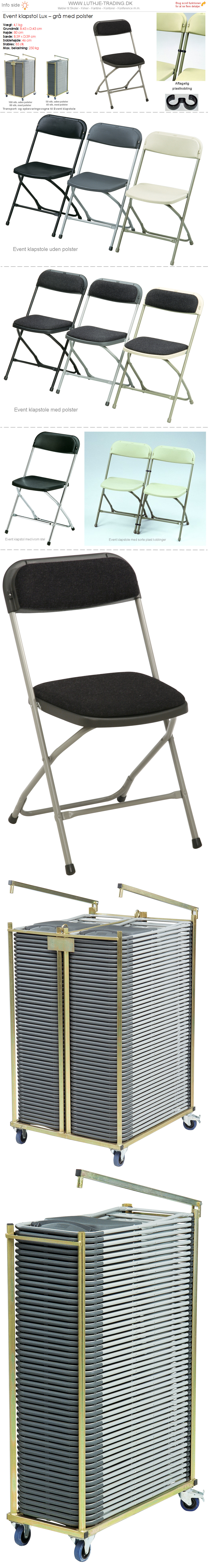 Plaststole grå Event med polster