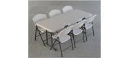 Lifetime plaststole og borde. Bordstørrelse 183 x 76 cm fold in half. Lifetime giver 10 års garanti på deres plaststole og borde.