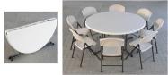 Lifetime plaststole og borde. Bordstørrelse rund Ø153 cm foldebord. Lifetime giver 10 års garanti på deres plaststole og borde.