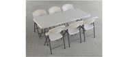 Lifetime plaststole og borde. Bordstørrelse 183 x 76 cm. Lifetime giver 10 års garanti på deres plaststole og borde.