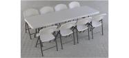Lifetime plaststole og borde. Bordstørrelse 245 x 76 cm. Lifetime giver 10 års garanti på deres plaststole og borde.