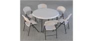 Lifetime plaststole og borde. Bordstørrelse rund Ø118 cm. Lifetime giver 10 års garanti på deres plaststole og borde.
