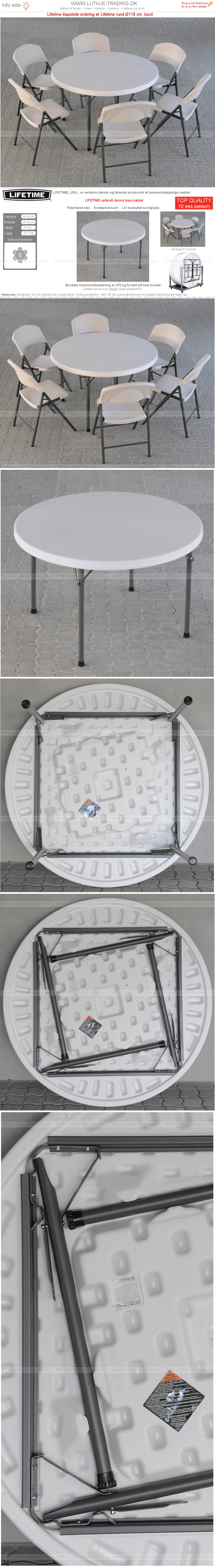 Plaststole med rund Ø118 cm bord