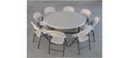 Lifetime plaststole og borde. Bordstørrelse rund Ø153 cm. Lifetime giver 10 års garanti på deres plaststole og borde.