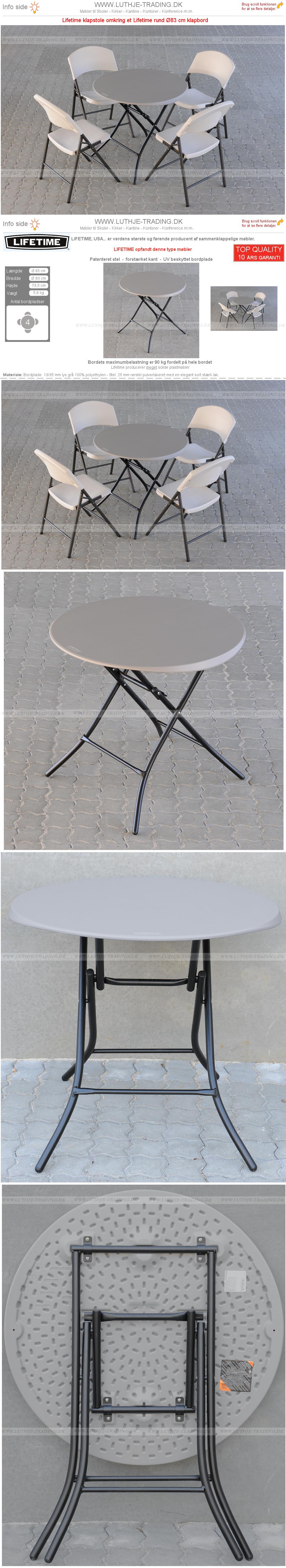 Plaststole med rund Ø83 cm bord