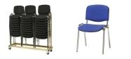 Plaststole Øko blå med polster velegnet til konference.
