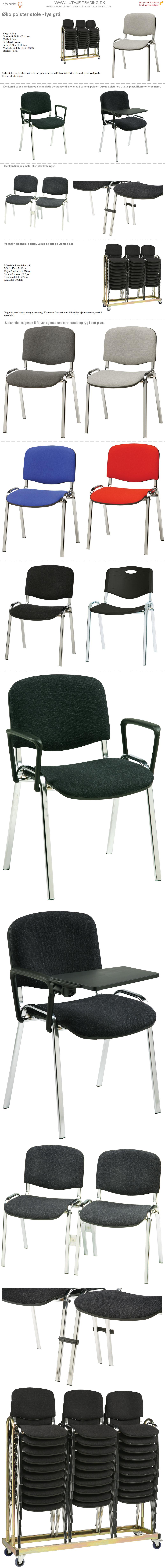 Plaststole Øko polster lys grå