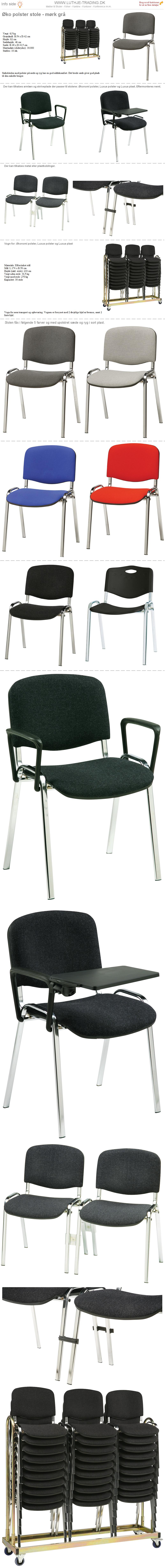 Plaststole Øko polster mørk grå